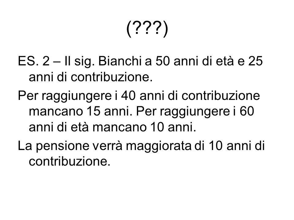 ( ) ES. 2 – Il sig. Bianchi a 50 anni di età e 25 anni di contribuzione.