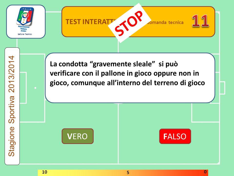 11 STOP VERO FALSO TEST INTERATTIVI domanda tecnica
