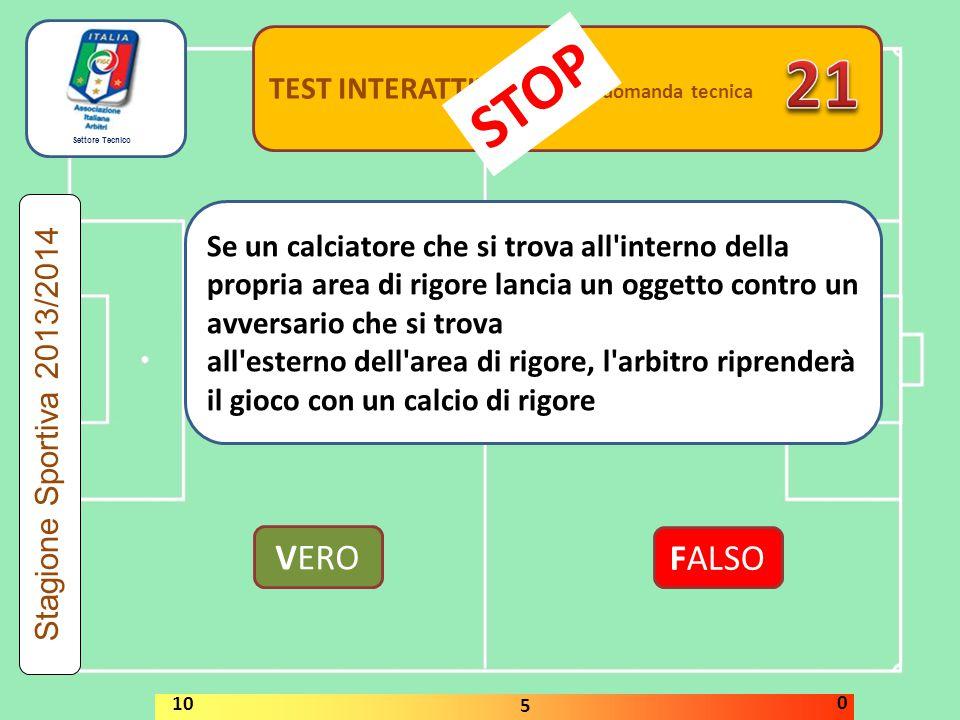 21 STOP VERO FALSO TEST INTERATTIVI domanda tecnica