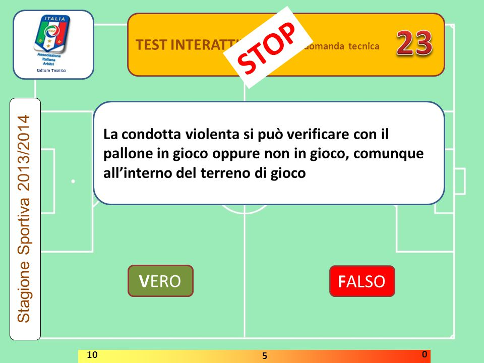 23 STOP VERO FALSO TEST INTERATTIVI domanda tecnica