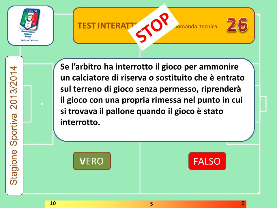26 STOP VERO FALSO TEST INTERATTIVI domanda tecnica