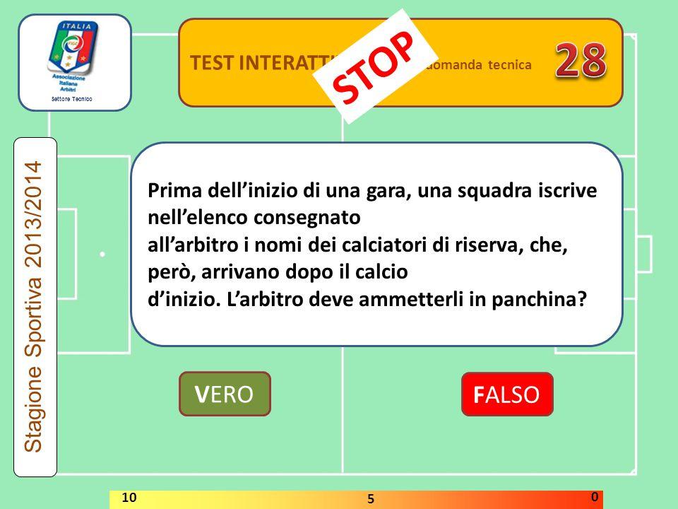 28 STOP VERO FALSO TEST INTERATTIVI domanda tecnica