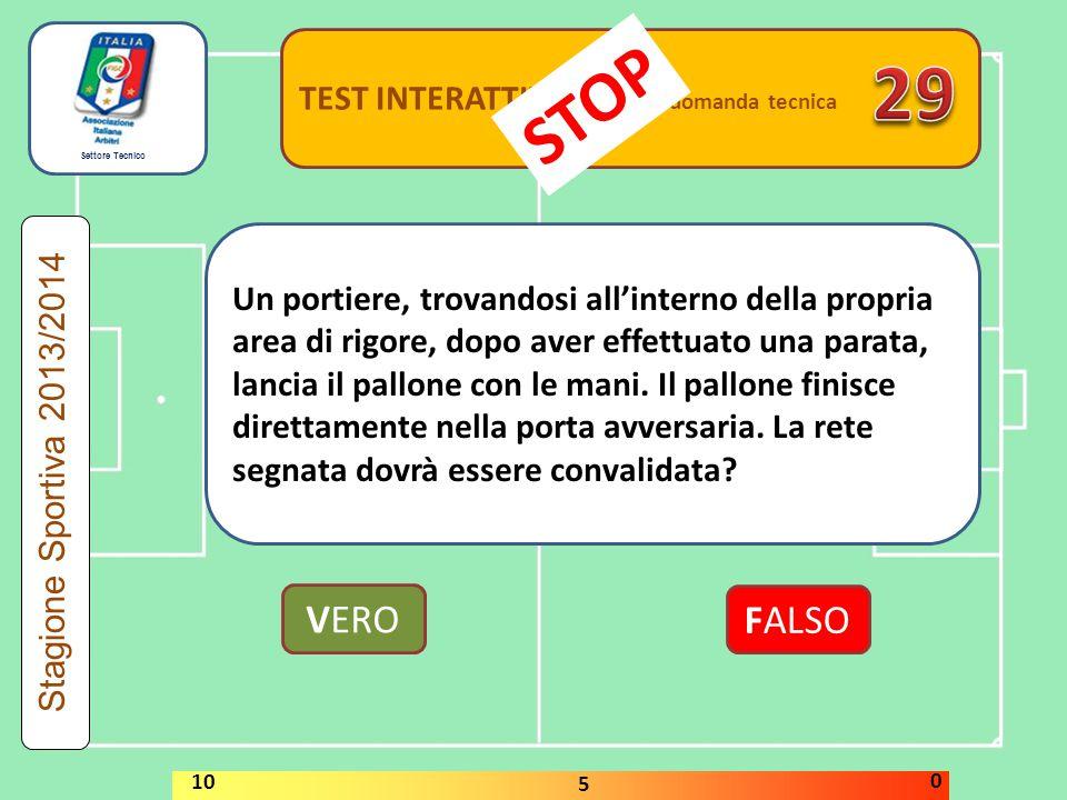 29 STOP VERO FALSO TEST INTERATTIVI domanda tecnica