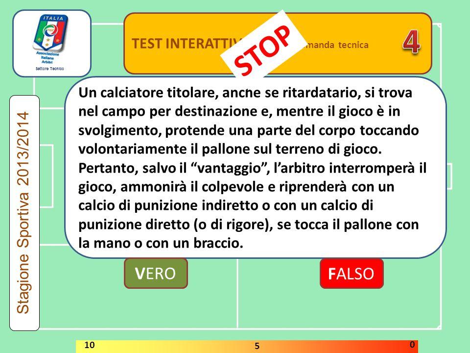 4 STOP VERO FALSO TEST INTERATTIVI domanda tecnica