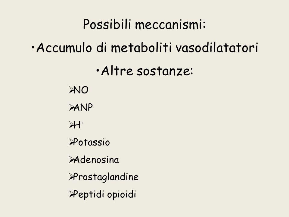 Possibili meccanismi: Accumulo di metaboliti vasodilatatori