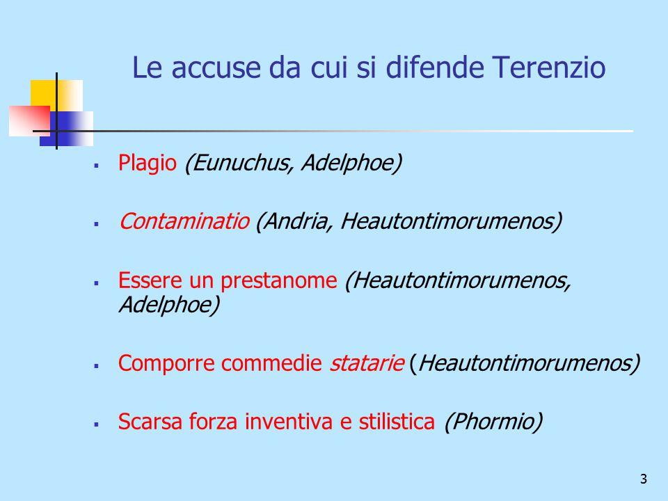 Le accuse da cui si difende Terenzio