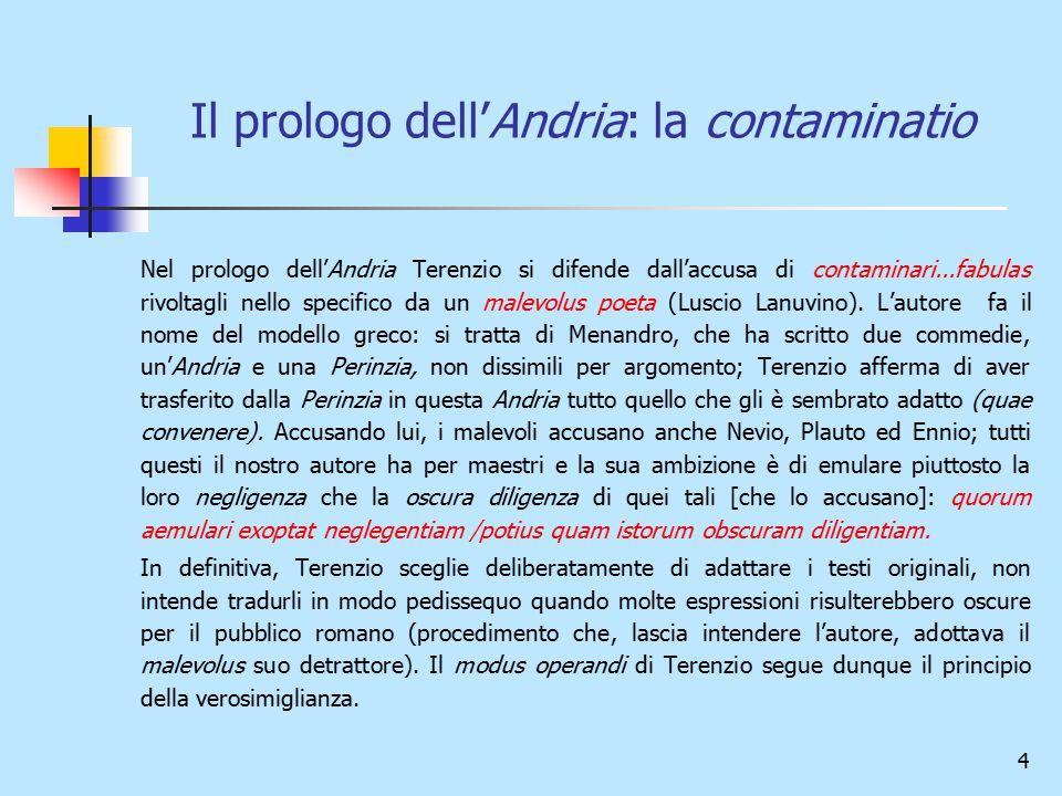 Il prologo dell'Andria: la contaminatio