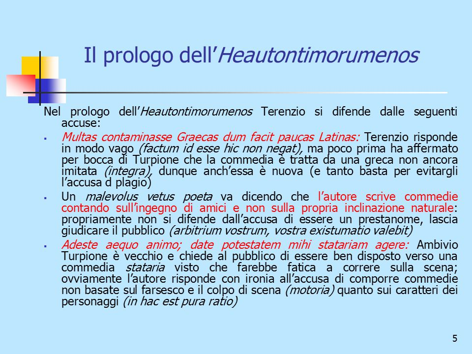 Il prologo dell'Heautontimorumenos