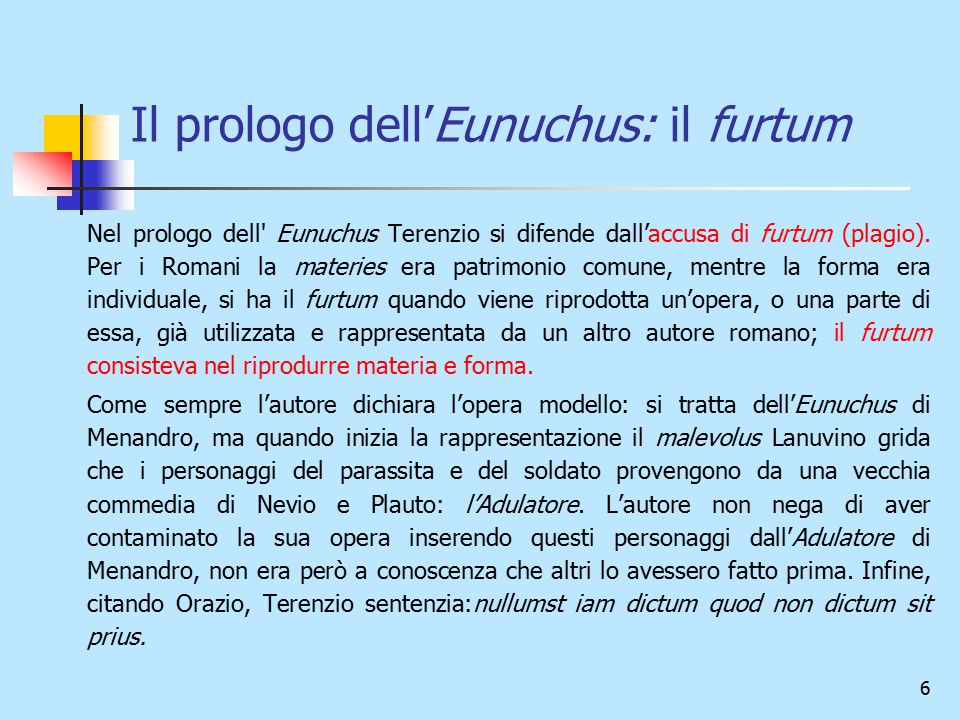 Il prologo dell'Eunuchus: il furtum