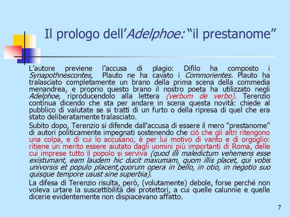 Il prologo dell'Adelphoe: il prestanome