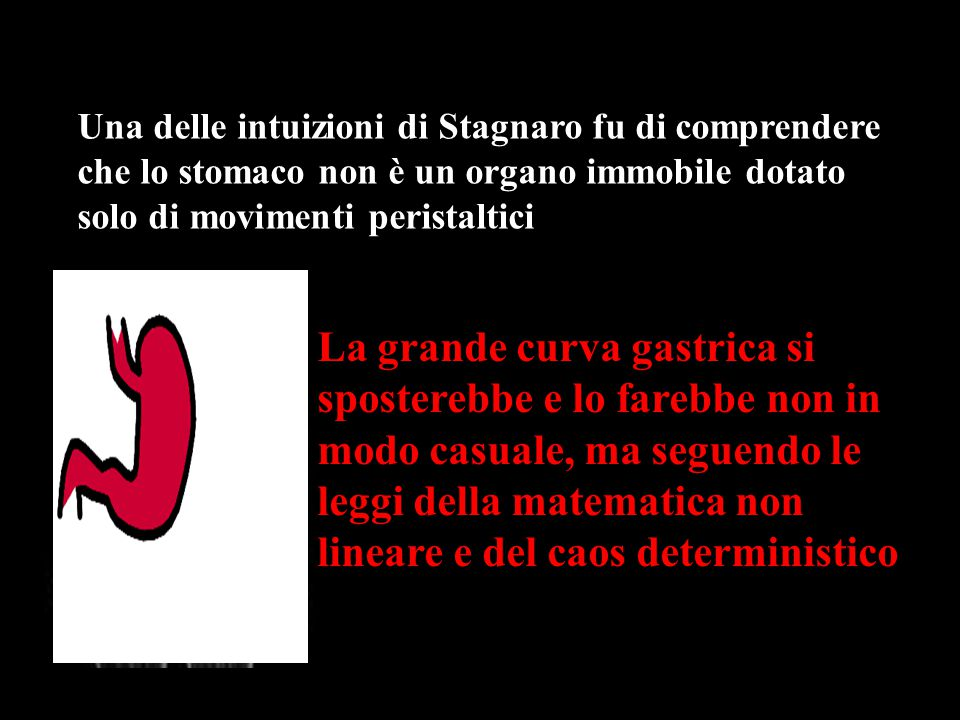 Una delle intuizioni di Stagnaro fu di comprendere che lo stomaco non è un organo immobile dotato solo di movimenti peristaltici