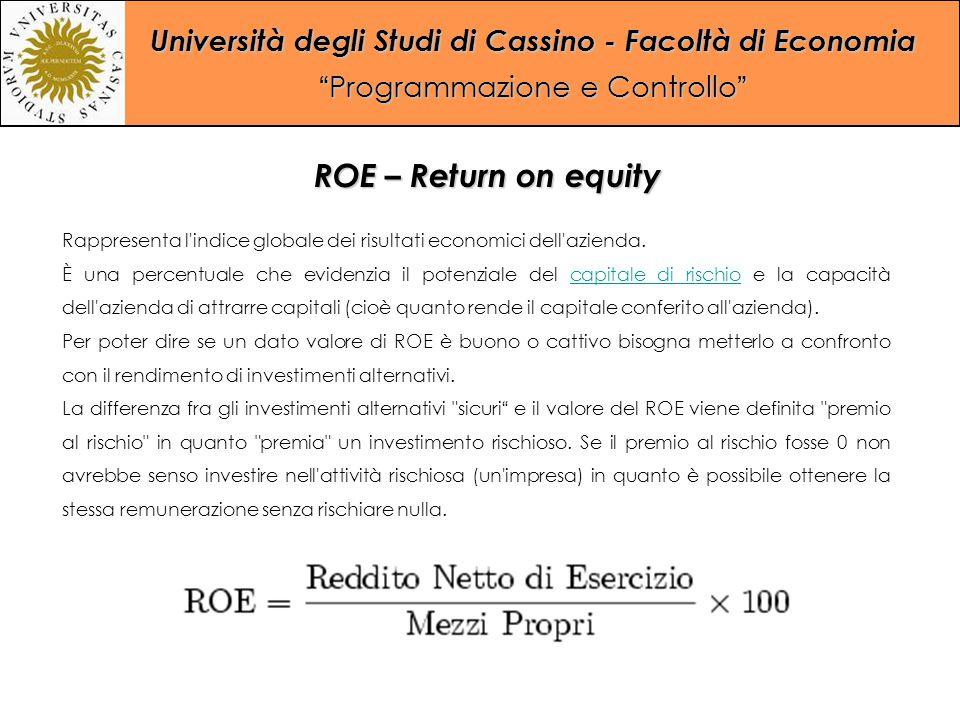 ROE – Return on equity Rappresenta l indice globale dei risultati economici dell azienda.