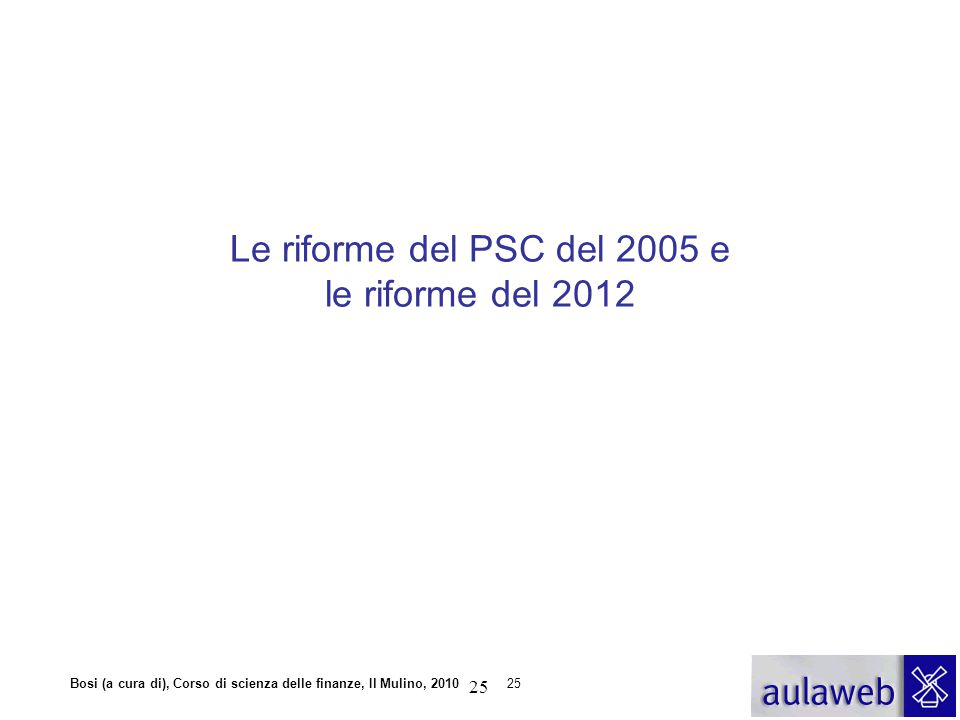Le riforme del PSC del 2005 e le riforme del 2012