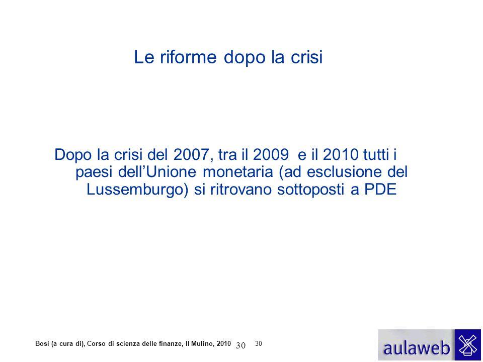 Le riforme dopo la crisi