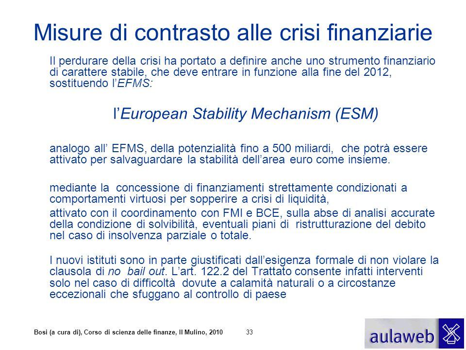 Misure di contrasto alle crisi finanziarie