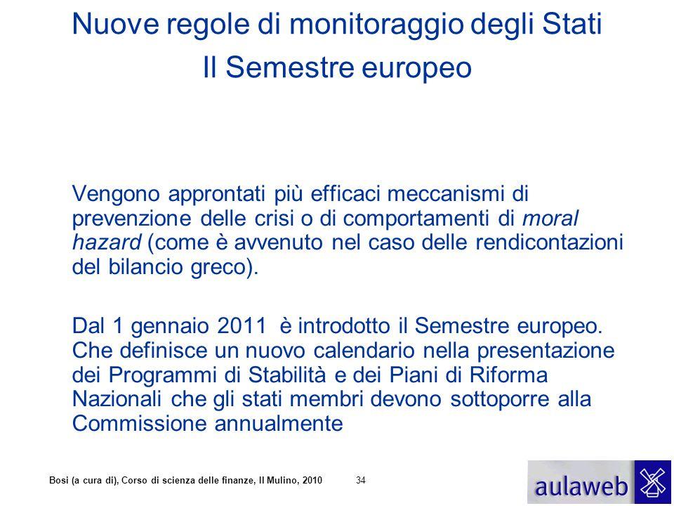 Nuove regole di monitoraggio degli Stati Il Semestre europeo