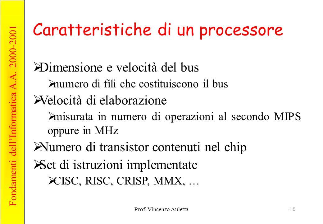 Caratteristiche di un processore