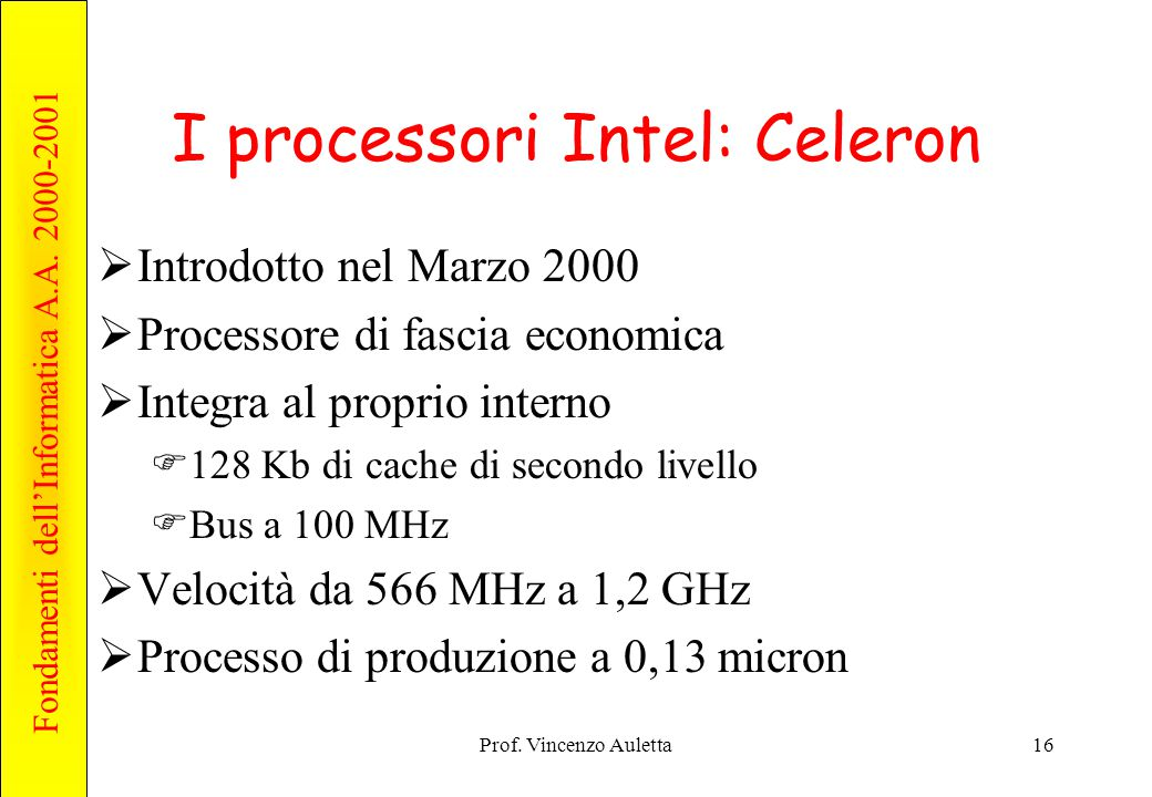 I processori Intel: Celeron
