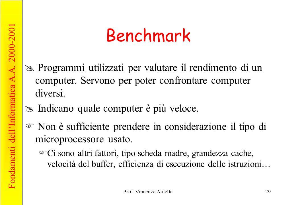 Benchmark Programmi utilizzati per valutare il rendimento di un computer. Servono per poter confrontare computer diversi.