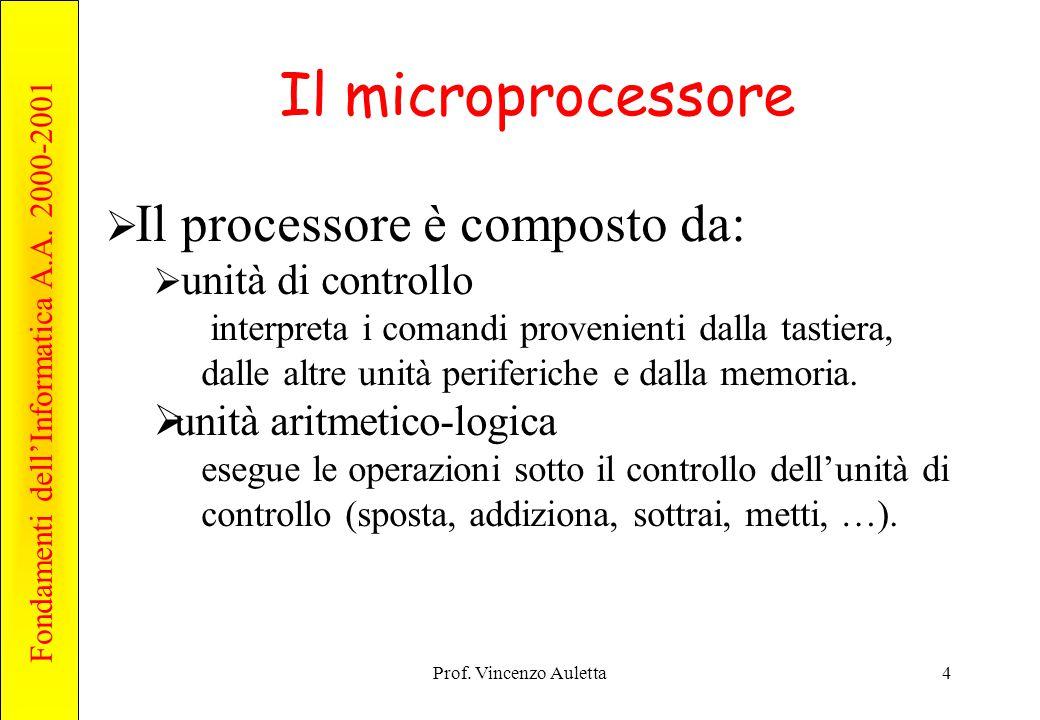 Il microprocessore unità aritmetico-logica unità di controllo