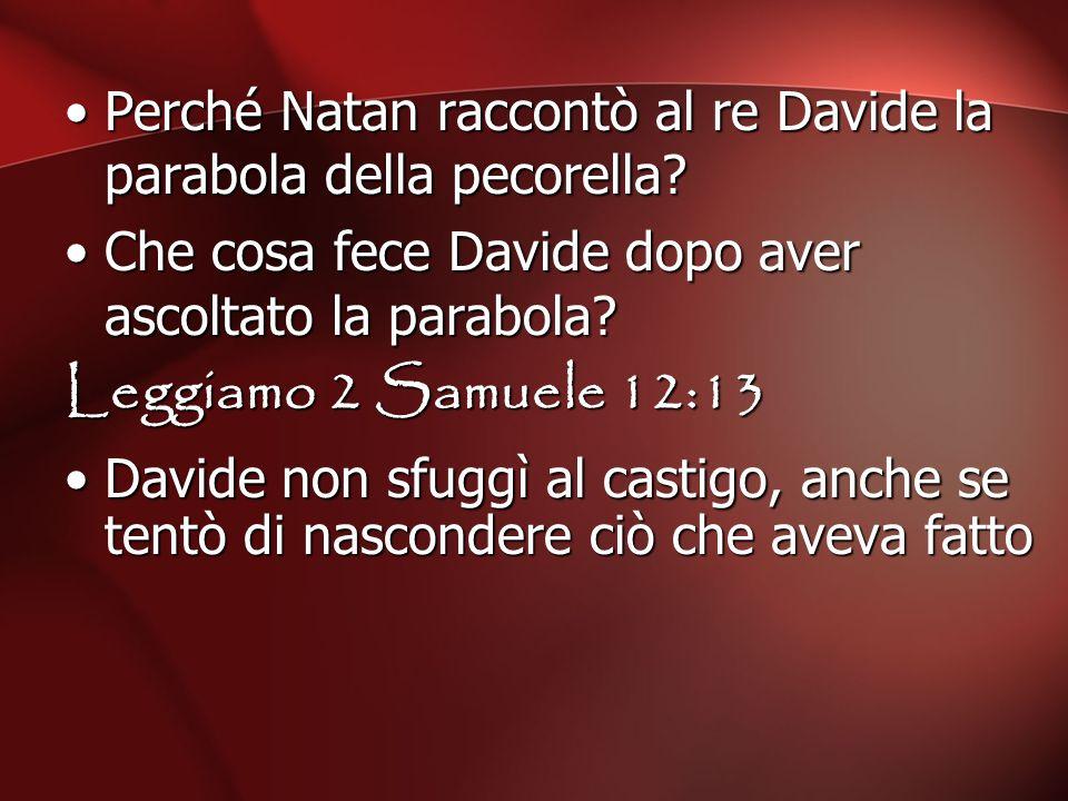 Perché Natan raccontò al re Davide la parabola della pecorella