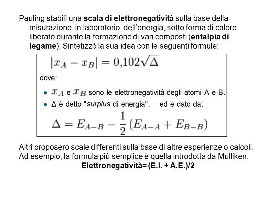 Elettronegatività= (E.I. + A.E.)/2