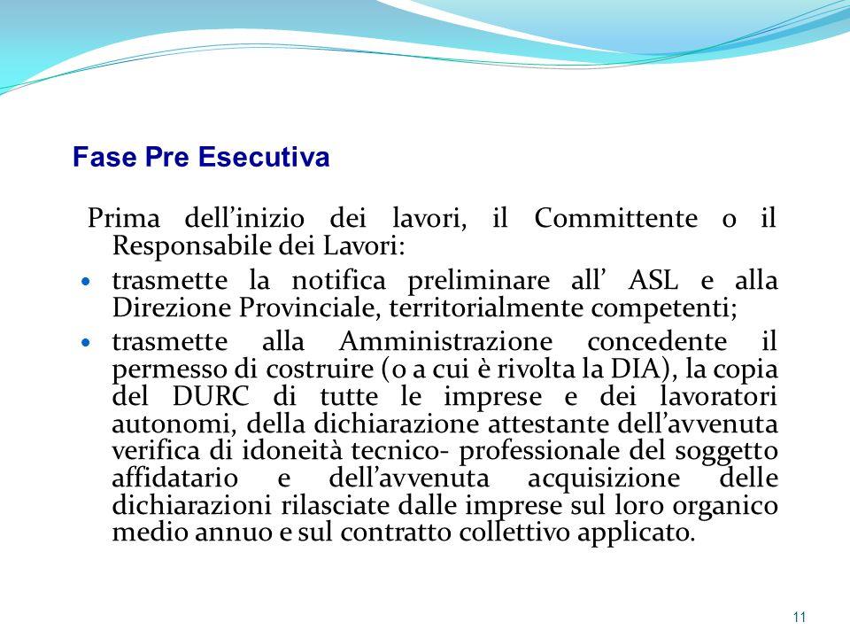 Fase Pre Esecutiva Prima dell'inizio dei lavori, il Committente o il Responsabile dei Lavori: