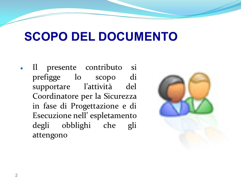 SCOPO DEL DOCUMENTO