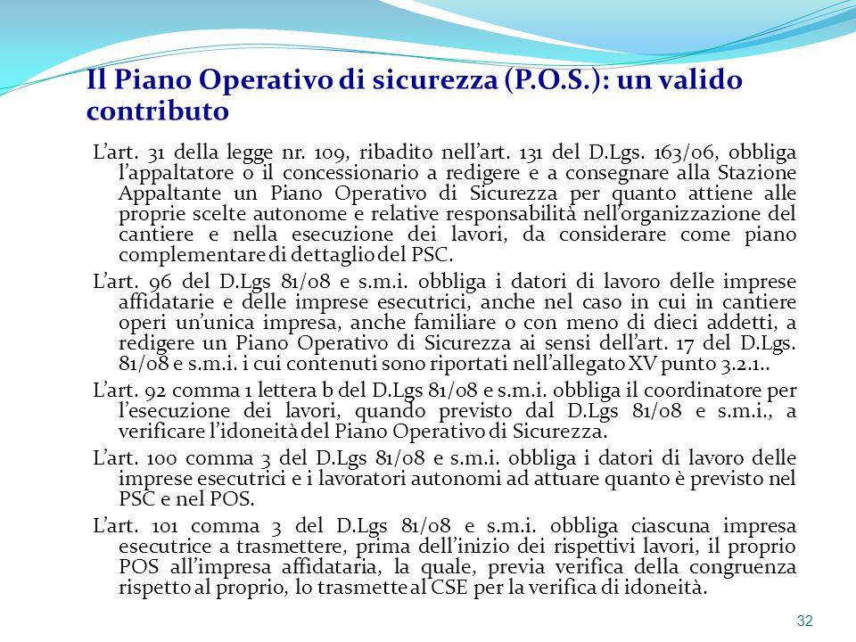 Il Piano Operativo di sicurezza (P.O.S.): un valido contributo