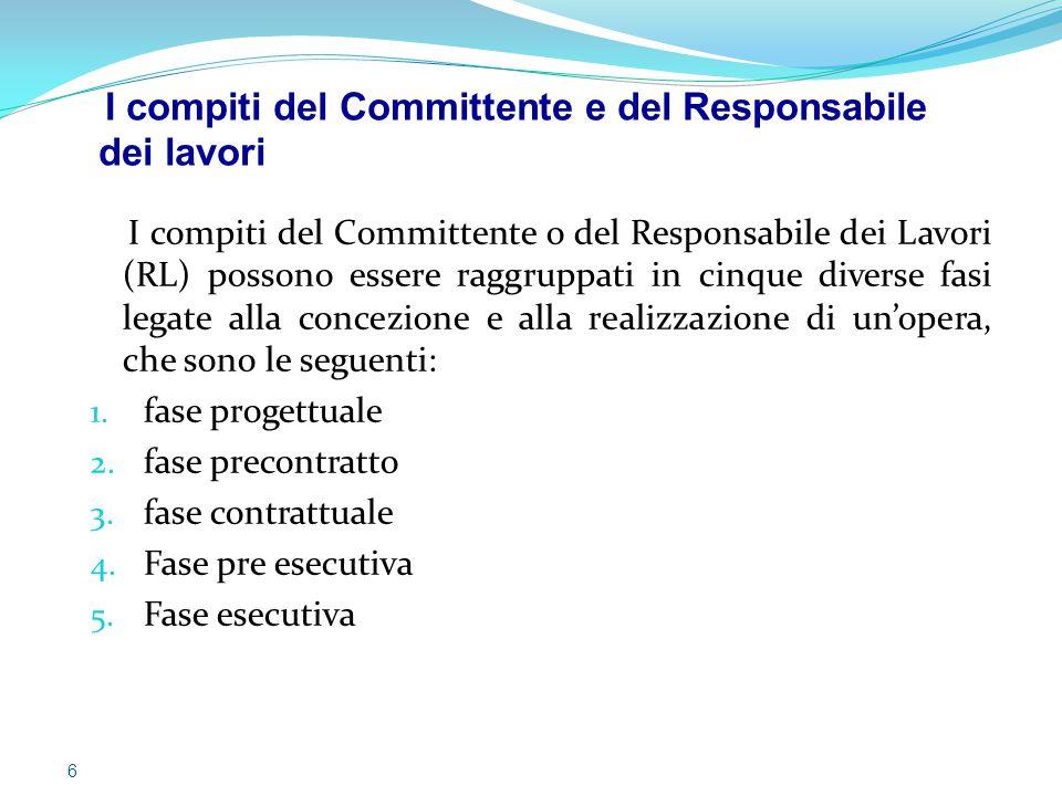 I compiti del Committente e del Responsabile dei lavori
