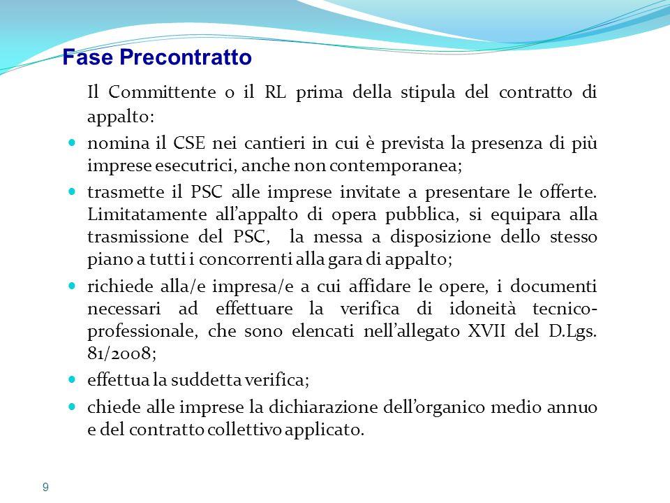 Il Committente o il RL prima della stipula del contratto di appalto: