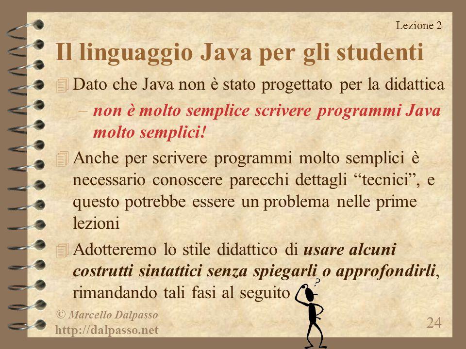 Il linguaggio Java per gli studenti