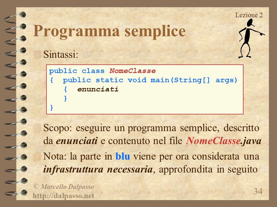 Programma semplice Sintassi: