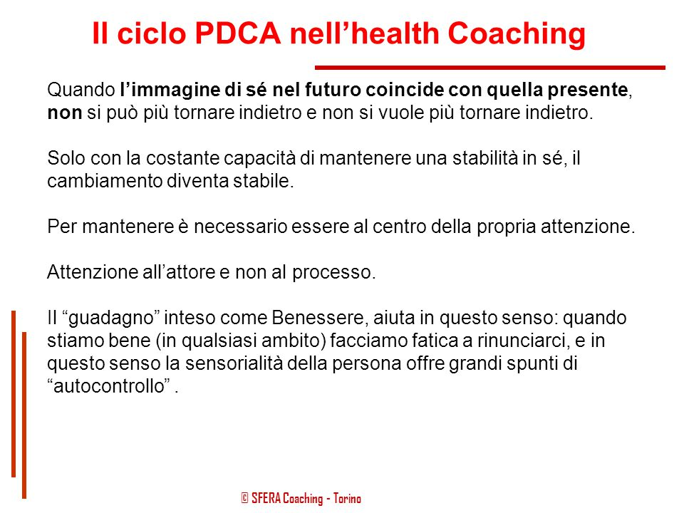 Il ciclo PDCA nell'health Coaching
