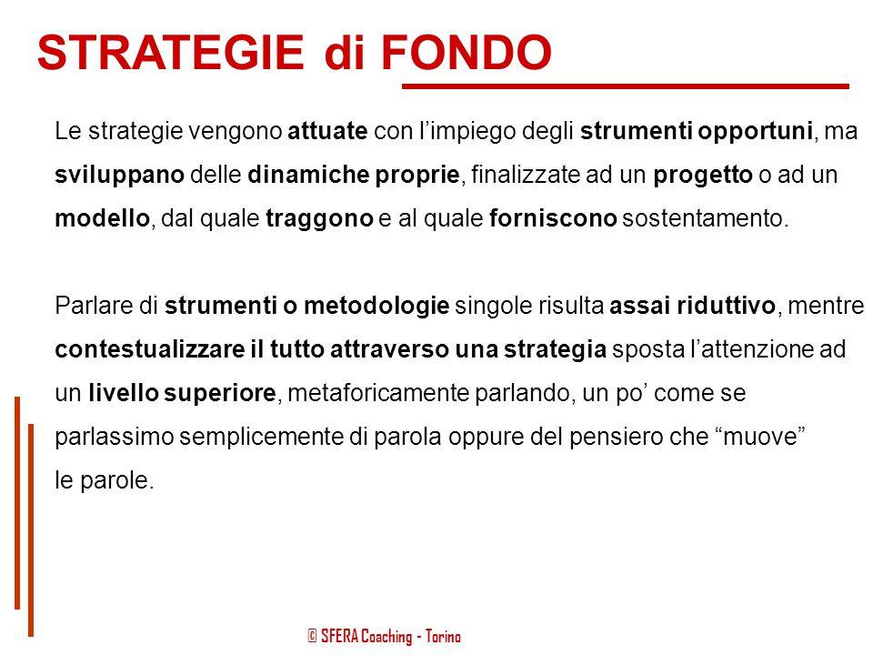 STRATEGIE di FONDO Le strategie vengono attuate con l'impiego degli strumenti opportuni, ma.