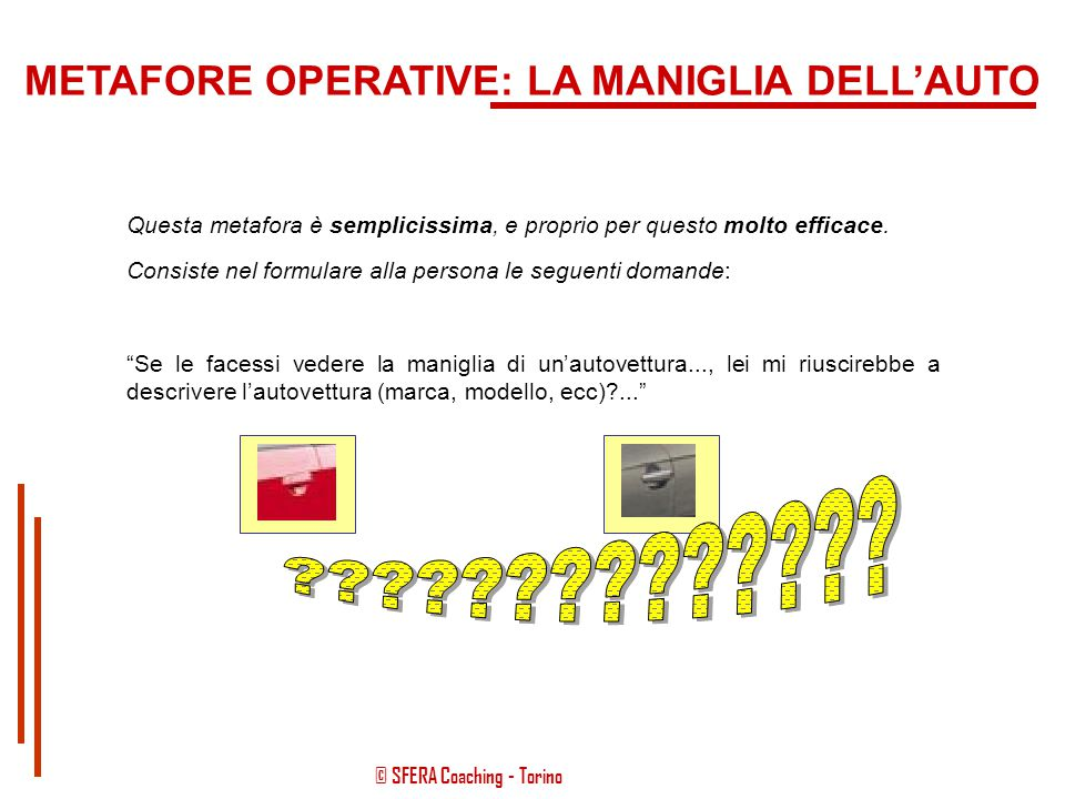 METAFORE OPERATIVE: LA MANIGLIA DELL'AUTO