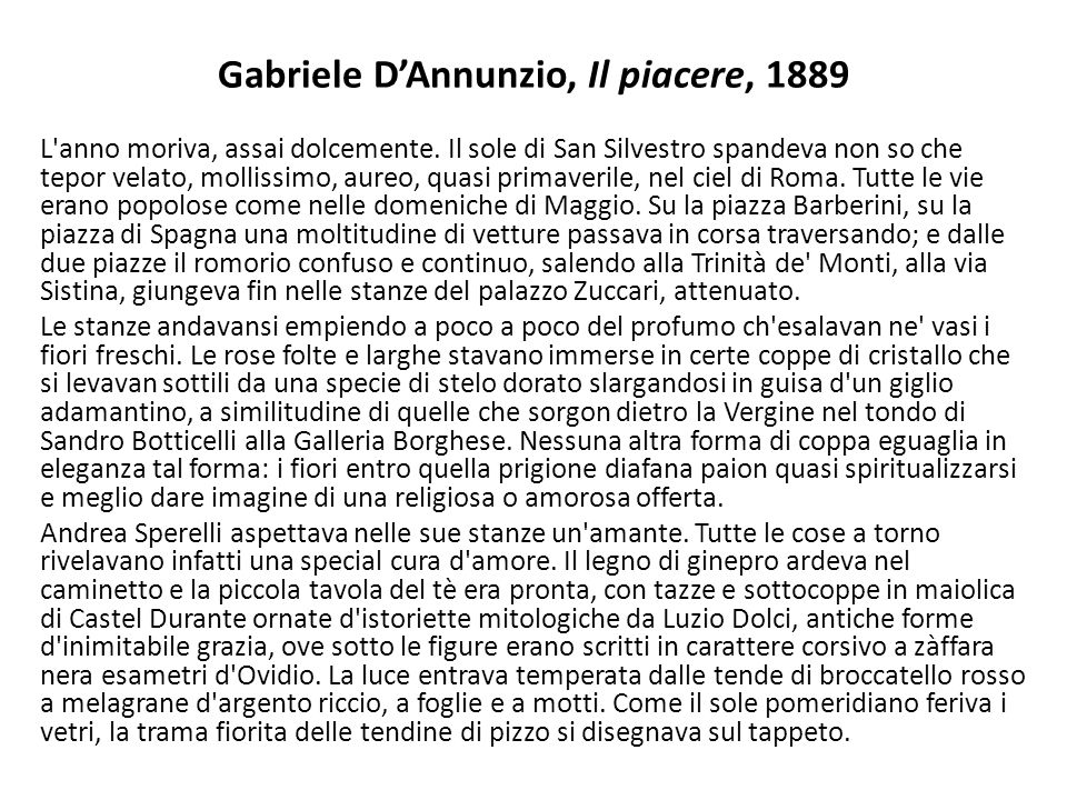 Gabriele D'Annunzio, Il piacere, 1889