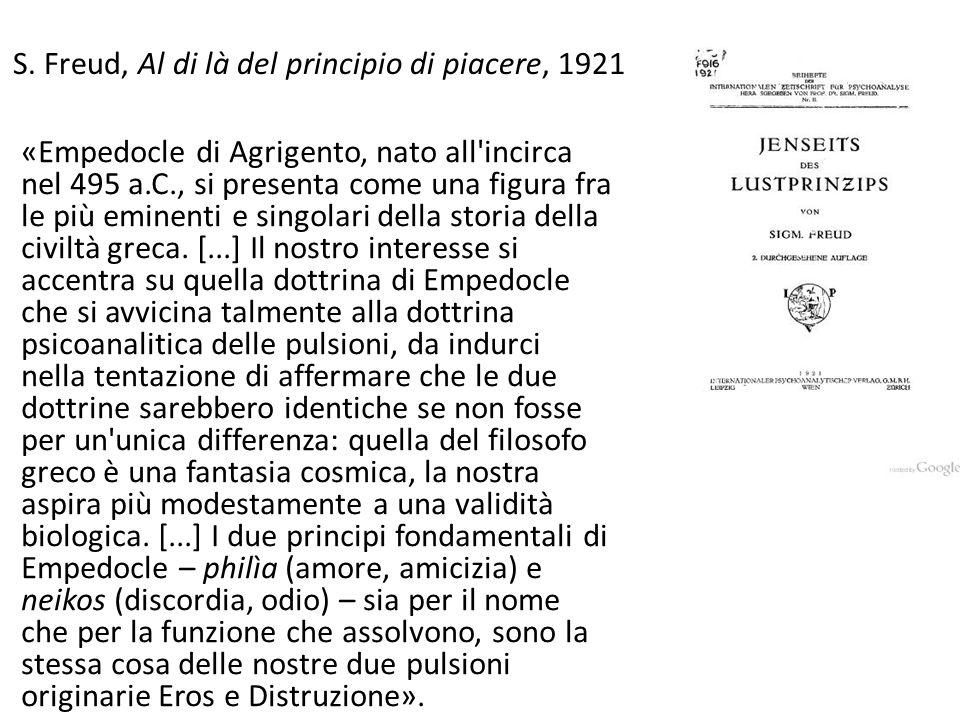 S. Freud, Al di là del principio di piacere, 1921