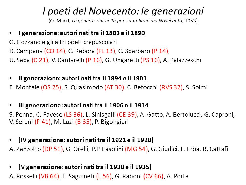 I poeti del Novecento: le generazioni (O