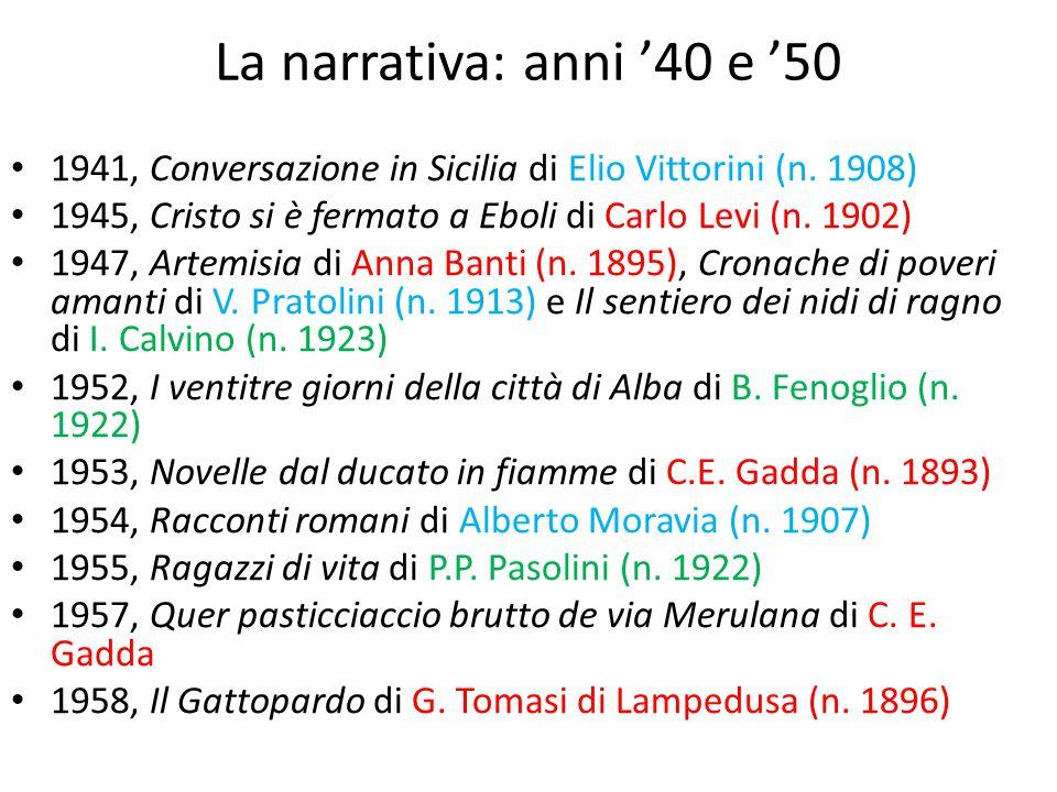 La narrativa: anni '40 e '50 1941, Conversazione in Sicilia di Elio Vittorini (n. 1908) 1945, Cristo si è fermato a Eboli di Carlo Levi (n. 1902)