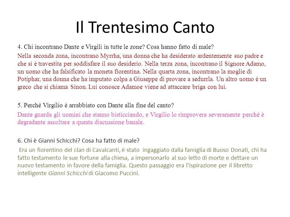 Il Trentesimo Canto 4. Chi incontrano Dante e Virgili in tutte le zone Cosa hanno fatto di male