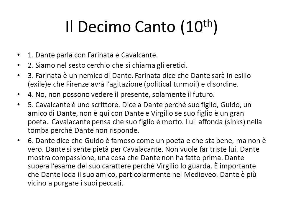 Il Decimo Canto (10th) 1. Dante parla con Farinata e Cavalcante.