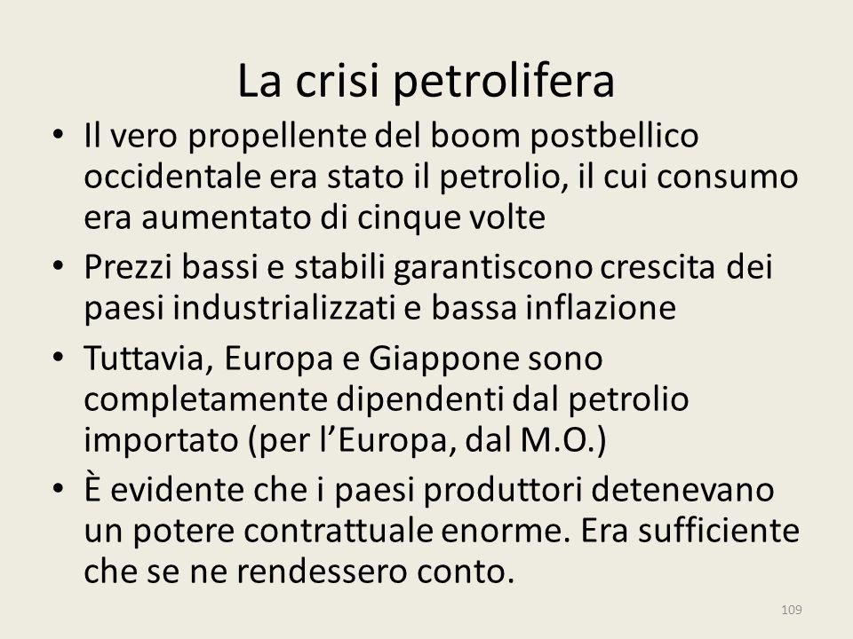 La crisi petrolifera Il vero propellente del boom postbellico occidentale era stato il petrolio, il cui consumo era aumentato di cinque volte.