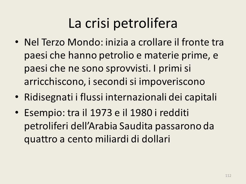La crisi petrolifera