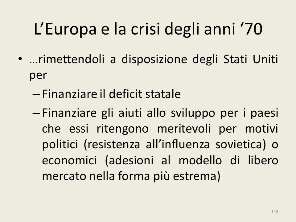L'Europa e la crisi degli anni '70