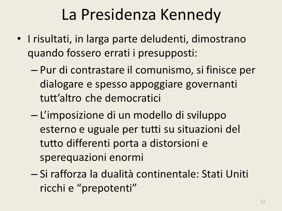 La Presidenza Kennedy I risultati, in larga parte deludenti, dimostrano quando fossero errati i presupposti: