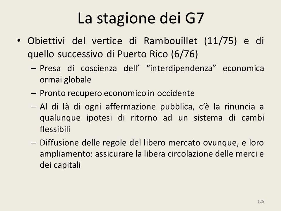 La stagione dei G7 Obiettivi del vertice di Rambouillet (11/75) e di quello successivo di Puerto Rico (6/76)