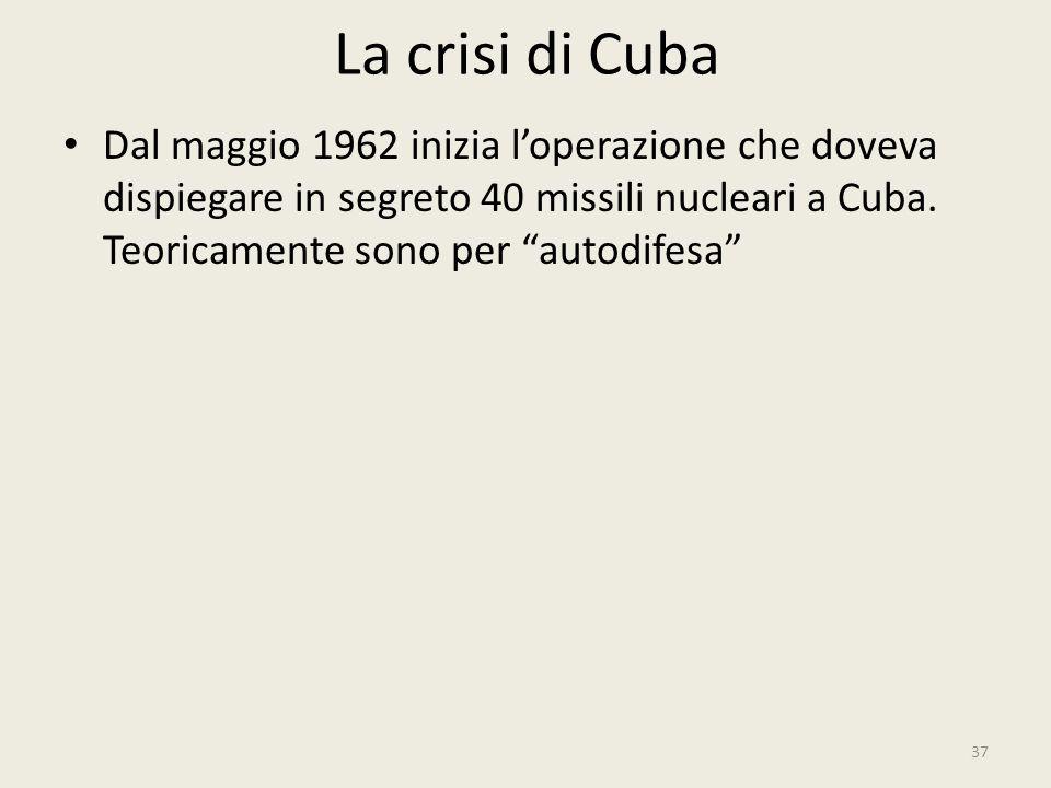 La crisi di Cuba Dal maggio 1962 inizia l'operazione che doveva dispiegare in segreto 40 missili nucleari a Cuba.