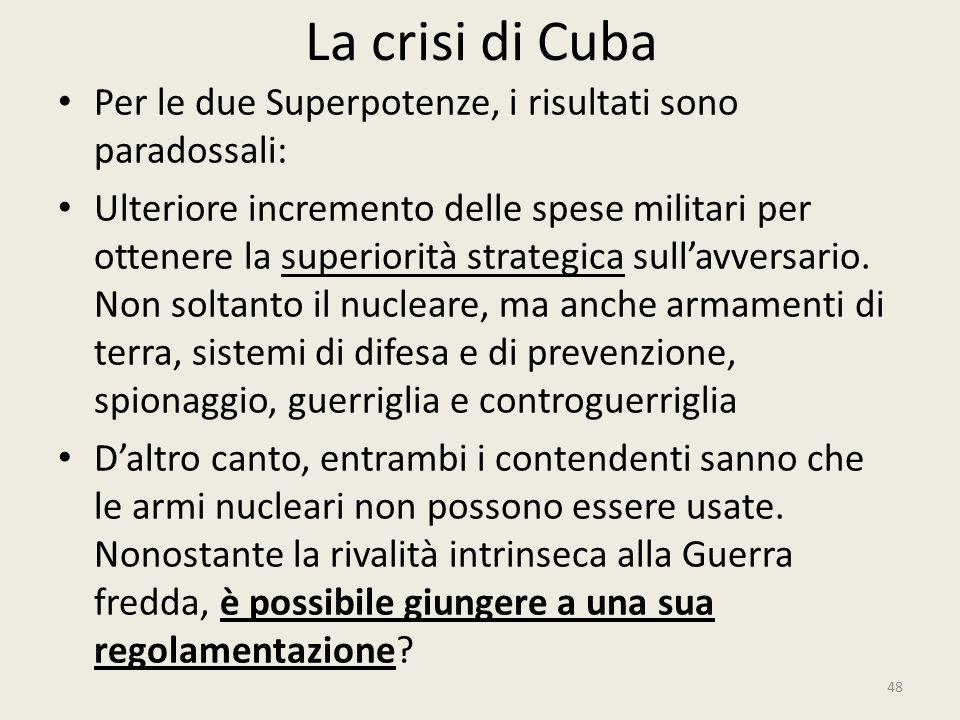 La crisi di Cuba Per le due Superpotenze, i risultati sono paradossali: