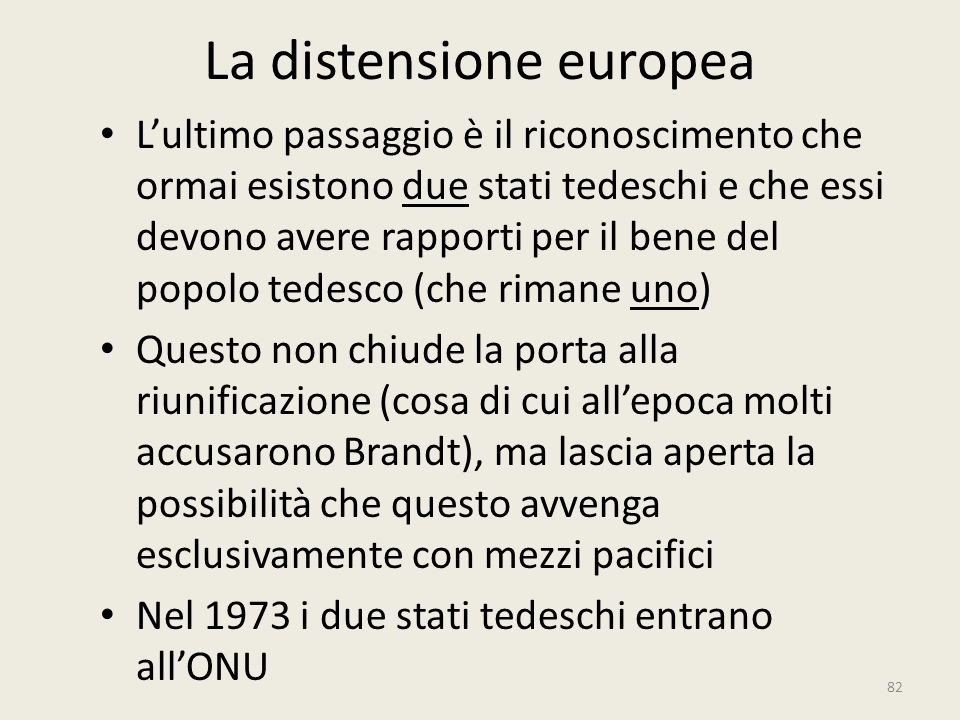 La distensione europea